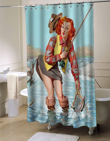 Pin Up Girl, Fishing, Vintage Poster shower curtain customized design for home decor