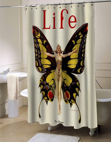 Vintage Life Flapper Butterfly Woman  shower curtain customized design for home decor
