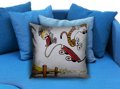 Calvin and Hobbes Playing Pillow case
