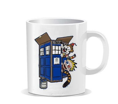 Calvin and Hobbes DR Who TARDIS Ceramic Mug