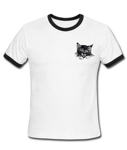 Cat Pocket Ringer Shirt