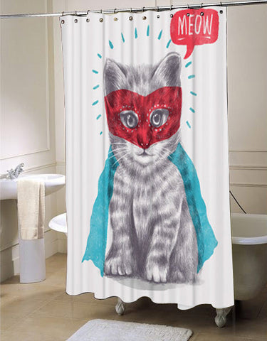 Cat Cute Super Kitty Animal Shower Curtain