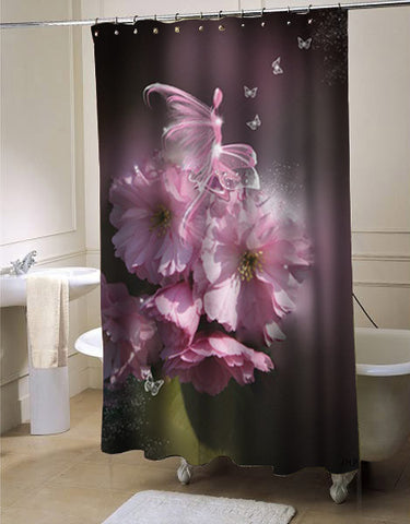 Cherry Blossom Fairy shower curtain customized design for home decor
