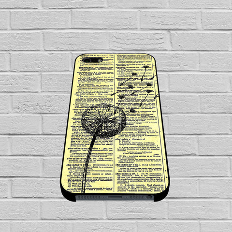 Dandelion On Vintage Dictionary Page case of iPhone case,Samsung Galaxy