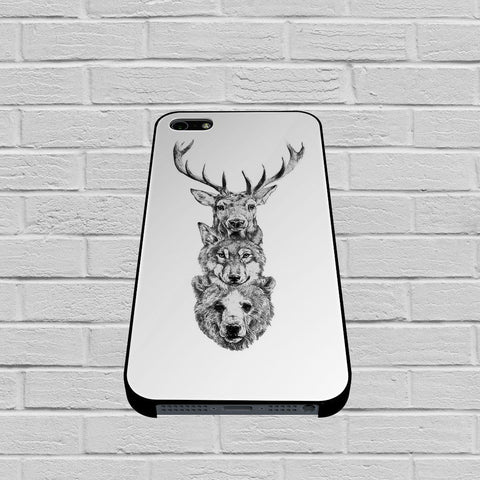 Deer, Wolf and Bear case of iPhone case,Samsung Galaxy