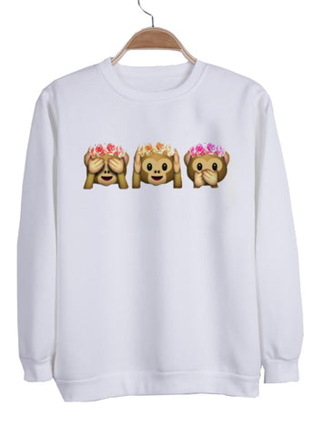 Flower Crown Monkey Emoji sweatshirt