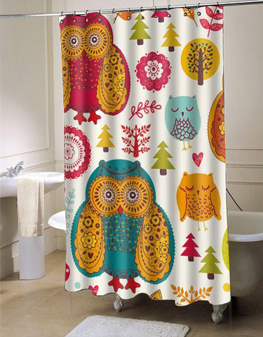 Generic Personalized Big And Small Owls shower curtain customized design for home decor