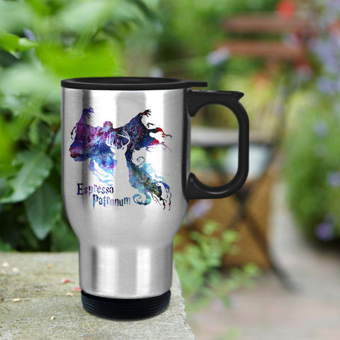 Espresso patronum harry potter in galaxy Travel mug