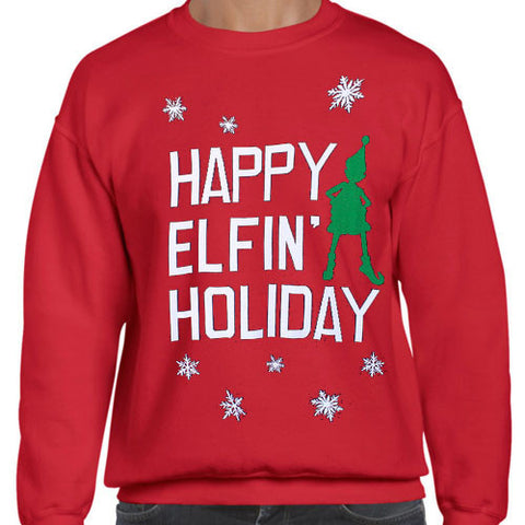 Happy Elfin' Holliday Tacky Ugly Christmas Sweater