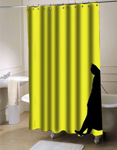 Leaning Batman shower curtain