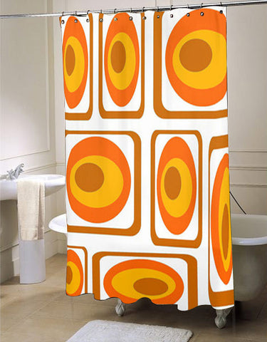 Mod Orange Shower Curtain, Mid Century Modern Shower Curtain