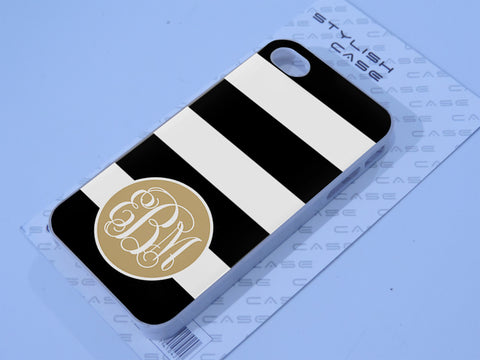 Monogram chiq black strip gold Phone case iPhone case Samsung Galaxy Case