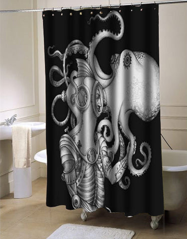 Octopus Art shower curtain customized design for home decor