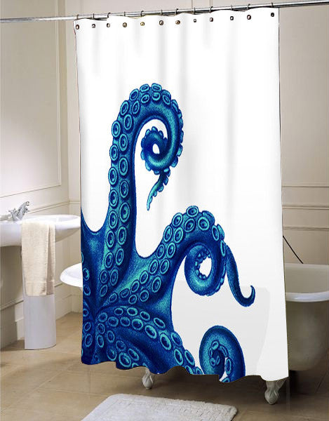 Octopus Tentacles Blue Shower Curtain Customized Design For Home Decor KENDRABLANCA