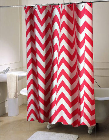 PINK CANDY ZIGZAG  shower curtain customized design for home decor