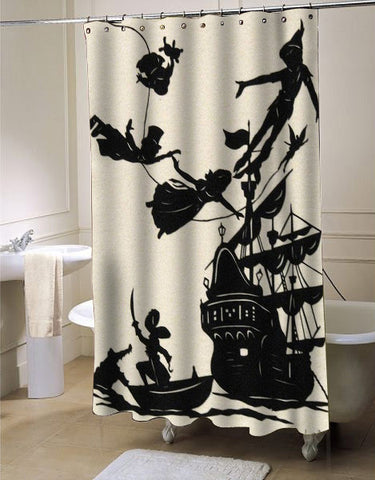 Peter Pan Flying Silhouette Shower Curtain Customized Design For Home KENDRABLANCA