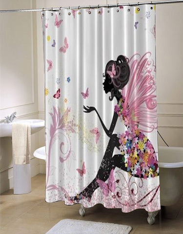 Pink Butterfly Girl with Floral Dress Flower Design Fairy Angel Wings