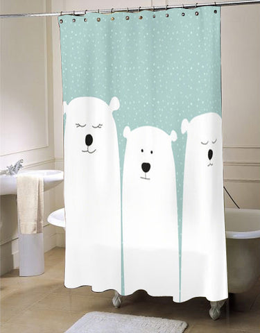 Polar Bear  shower curtain customized design for home decor