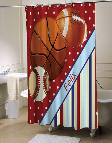 Red Sports shower curtain customized design for home decor