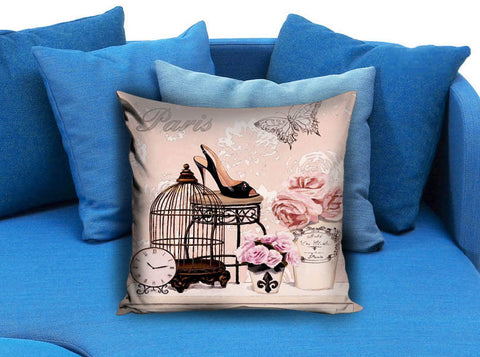 Retro Vintage Pink Bird Cage Flower Pillow Case