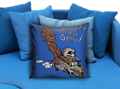 Rocket Groot Like As Calvin and Hobbes Pillow Case