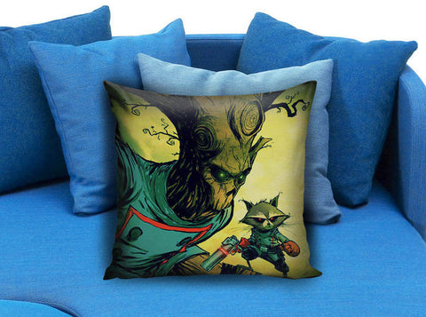 Rocket Raccoon and Groot guardian of the galaxy Pillow case
