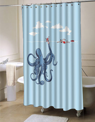 SANMOU Design Octopus  shower curtain customized design for home decor