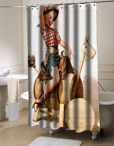 Sexy Retro Pinup Girl shower curtain