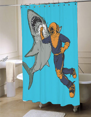 Shark Punch, Diver, Shower Curtain