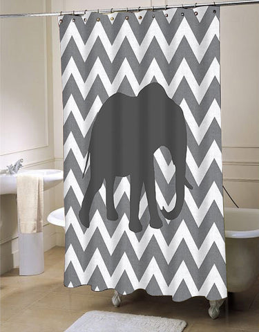 Cute Gray Chevron Elephant Bathroom  shower curtain customized design for home decor