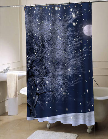 Sparkle snow shower curtain customized design for home decor