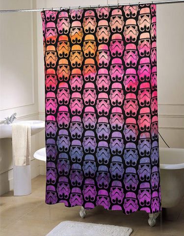 Star Wars Inspired Stormtroopers over Sunset Watercolor  shower curtain customized design for home decor