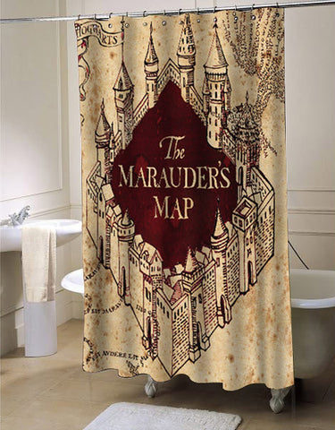 The Marauders Map shower curtain customized design for home decor