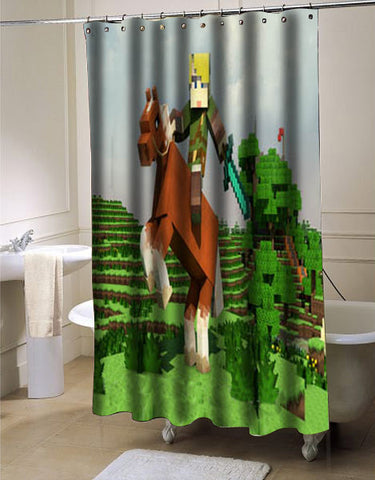The legend of Zelda Creeper minecraft shower curtain customized design for home decor