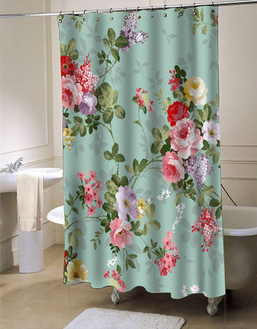 Vintage flower shower curtain customized design for home decor
