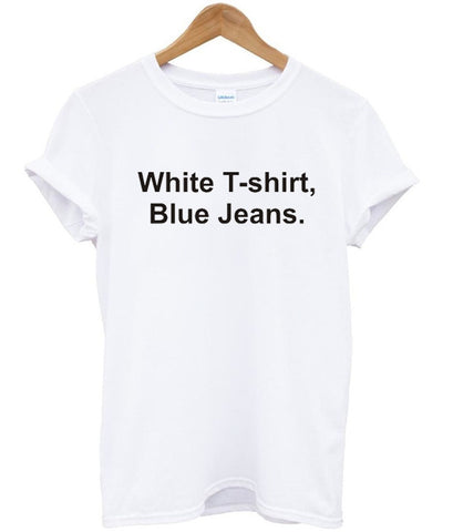 White t-shirt Blue jeans shirt