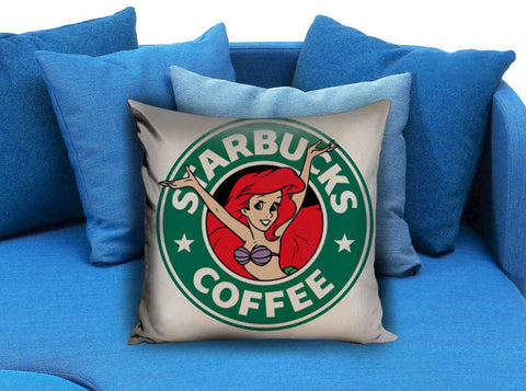 ariel mermaid as starbucks coffee logo Pillow case