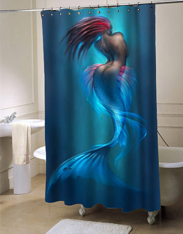 artwork of mermaids shower curtain customized design for home decor