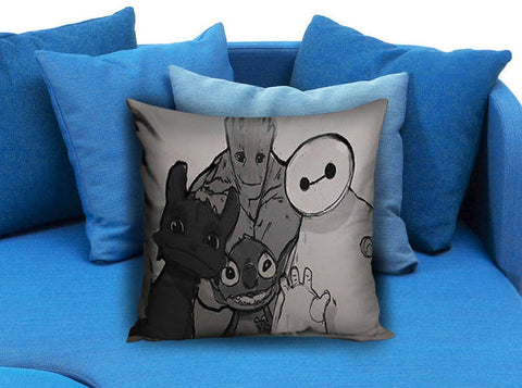 baymax groot stitch tothless Pillow case