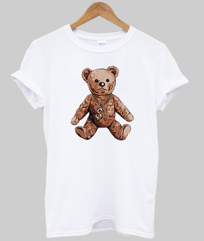 bear with gold chain T shirt