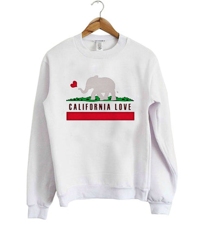 california love elephant sweatshirt