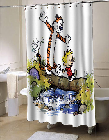 calvin and hobbes shower curtain customized design for home decor