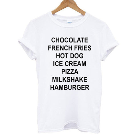 chocolate french fries hot dog ice cream shirt