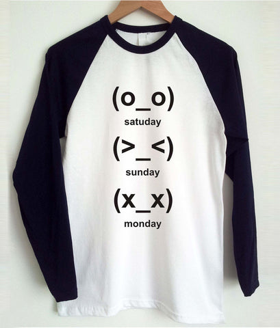 cute emoji days raglan
