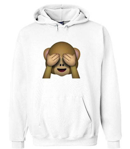 emoji monkey covering eyes hoodie
