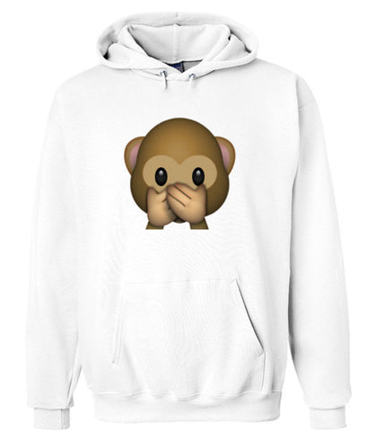 emoji monkey covering mouth hoodie