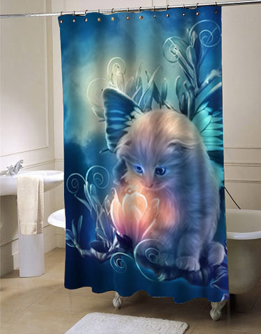 fairy kitty shower curtain customized design for home decor