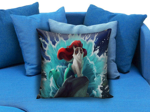 grumpy cat as mermaid disney princess Pillow Case