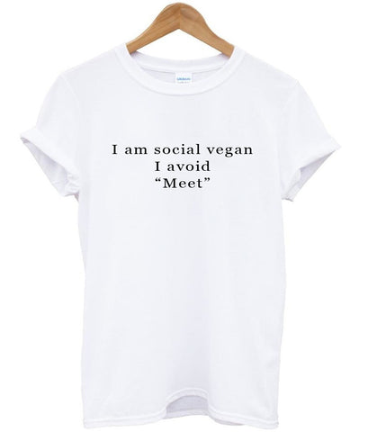 i am social vegan T shirt