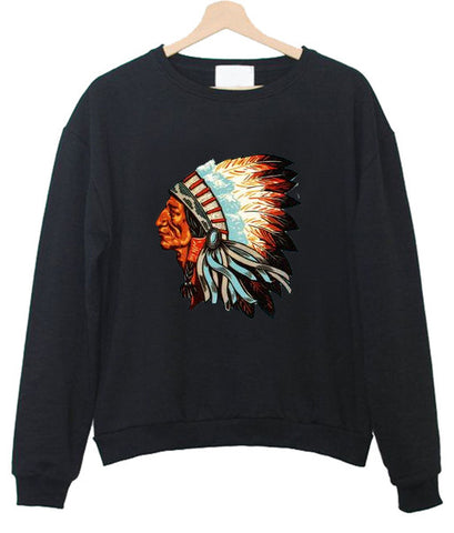 indian chief head sweatshirt